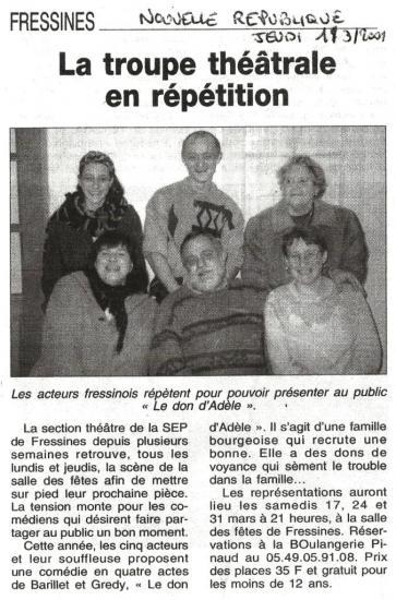 La NR du 01/03/2001